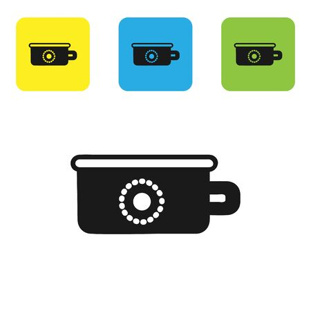 Black Baby potty icon isolated on white background. Chamber pot. Set icons colorful square buttons. Vector Illustration