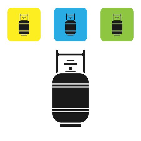 Black Propane gas tank icon isolated on white background. Flammable gas tank icon. Set icons colorful square buttons. Vector Illustration