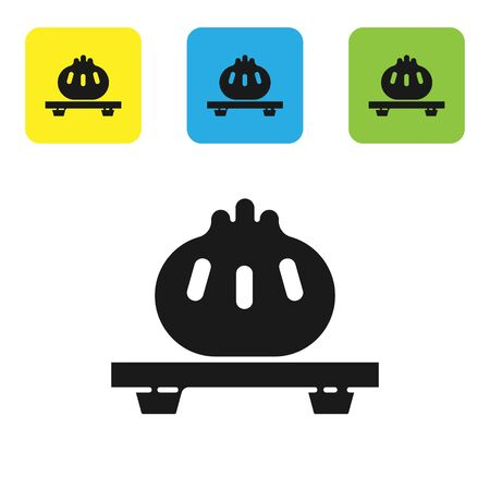 Black Dumpling on cutting board icon isolated on white background. Traditional chinese dish. Set icons colorful square buttons. Vector Illustration