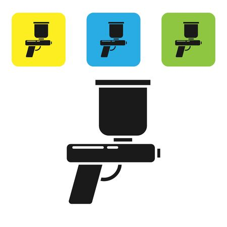 Black Paint spray gun icon isolated on white background. Set icons colorful square buttons. Vector Illustration