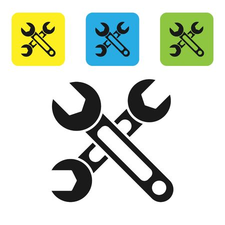 Black Wrench icon isolated on white background. Spanner icon. Set icons colorful square buttons. Vector Illustration