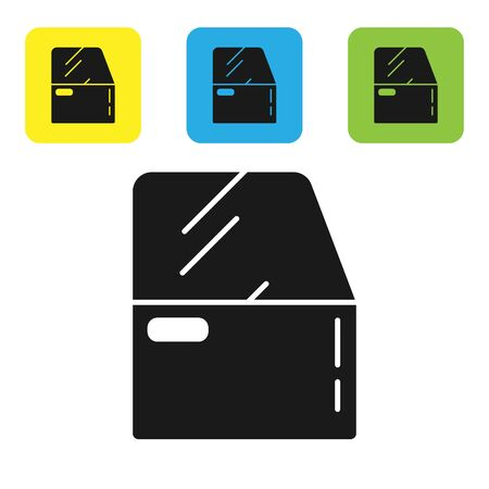 Black Car door icon isolated on white background. Set icons colorful square buttons. Vector Illustration Vettoriali