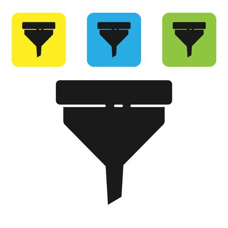 Black Funnel or filter icon isolated on white background. Set icons colorful square buttons. Vector Illustration