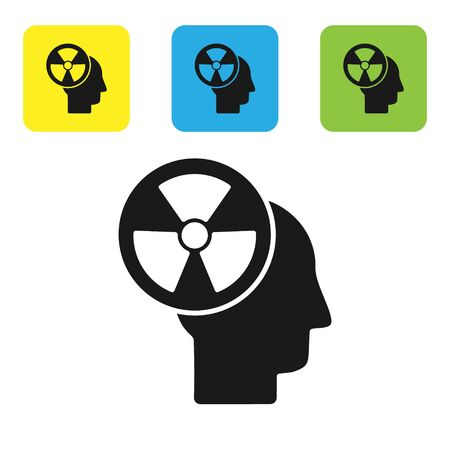 Black Silhouette of a human head and a radiation symbol icon isolated on white background. Set icons colorful square buttons. Vector Illustration Иллюстрация