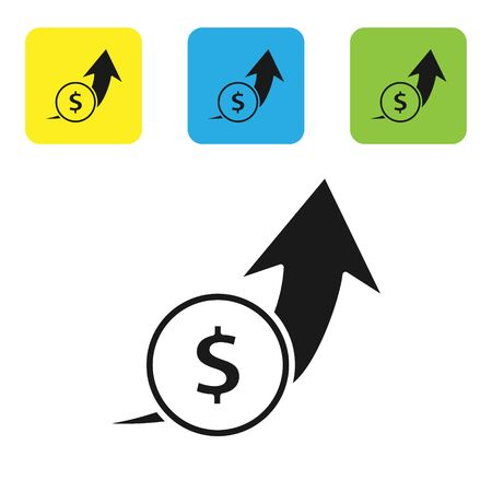 Black Financial growth and coin icon isolated on white background. Increasing revenue. Set icons colorful square buttons. Vector Illustration