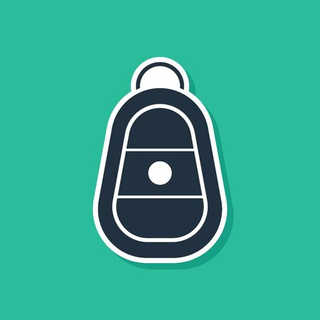 Blue Car key with remote icon isolated on green background. Car key and alarm system. Vector Illustration
