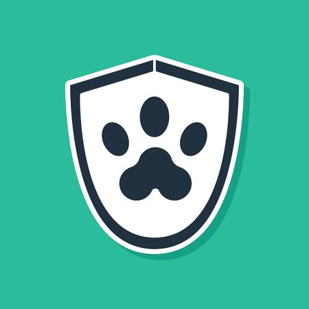 Blue Animal health insurance icon isolated on green background. Pet protection icon. Dog or cat paw print. Vector Illustration