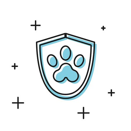 Black Animal health insurance icon isolated on white background. Pet protection icon. Dog or cat paw print. Vector Illustration Archivio Fotografico - 135886121