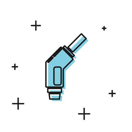 Icône de buse de pompe à essence noir isolé sur fond blanc. Station d'essence de pompe à essence. Signe de service de ravitaillement. Icône de la station-service. Illustration vectorielle