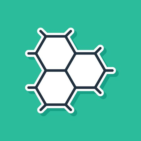 Blue Chemical formula consisting of benzene rings icon isolated on green background. Vector Illustration  イラスト・ベクター素材