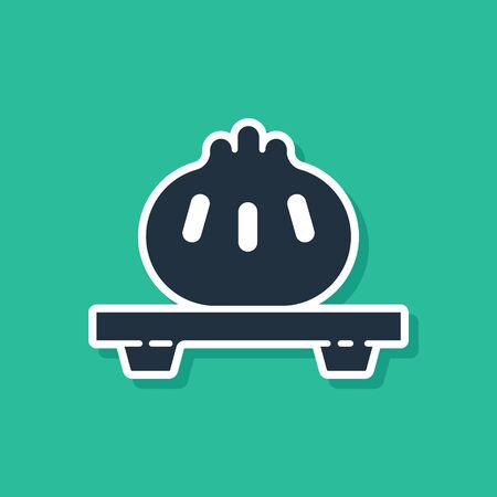 Blue Dumpling on cutting board icon isolated on green background. Traditional chinese dish. Vector Illustration