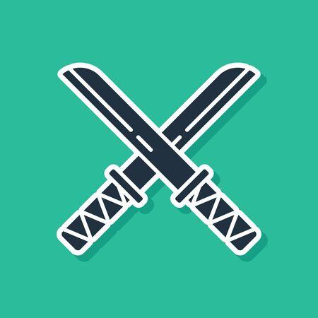 Blue Traditional Japanese katana icon isolated on green background. Japanese sword. Vector Illustration