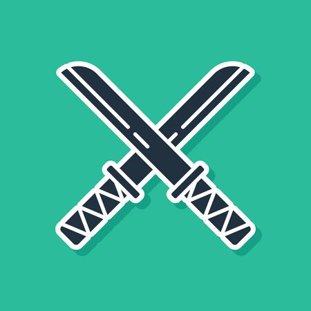 Blue Traditional Japanese katana icon isolated on green background. Japanese sword. Vector Illustration