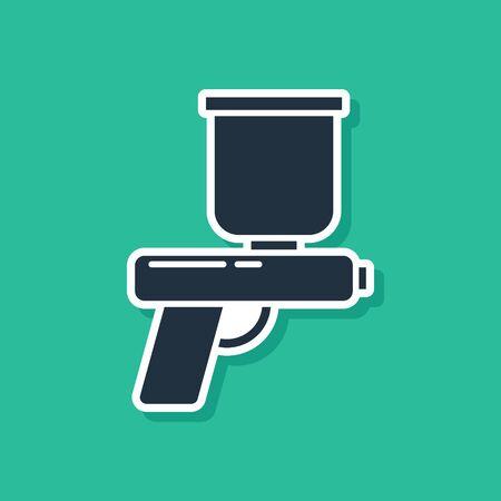 Blue Paint spray gun icon isolated on green background. Vector Illustration