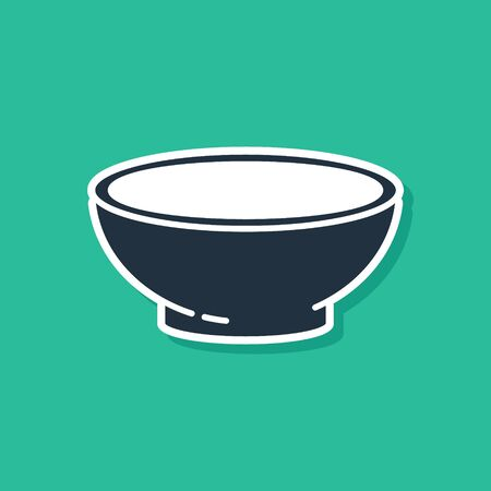 Blue Bowl of hot soup icon isolated on green background. Vector Illustration