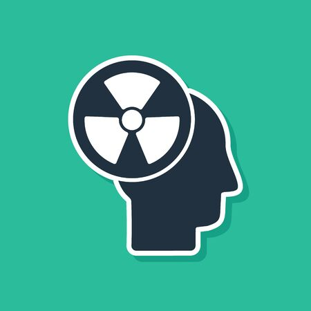 Blue Silhouette of a human head and a radiation symbol icon isolated on green background. Vector Illustration