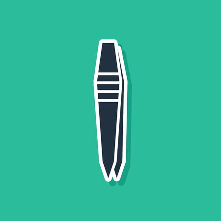 Blue Tweezers icon isolated on green background. Vector Illustration
