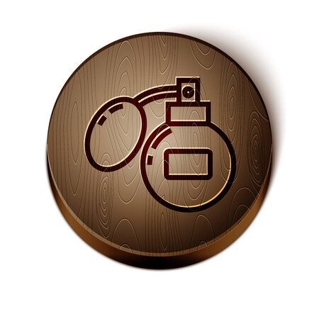 Brown line Aftershave icon isolated on white background. Cologne spray icon. Male perfume bottle. Wooden circle button. Vector Illustration