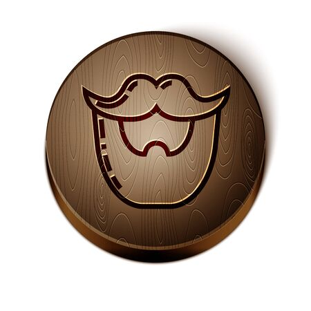 Brown line Mustache and beard icon isolated on white background. Barbershop symbol. Facial hair style. Wooden circle button. Vector Illustration