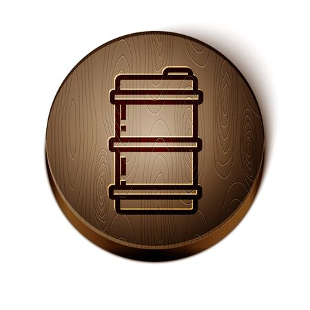 Brown line Metal beer keg icon isolated on white background. Wooden circle button. Vector Illustration Vetores