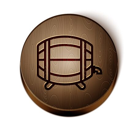 Brown line Wooden barrel on rack with stopcock icon isolated on white background. Wooden circle button. Vector Illustration