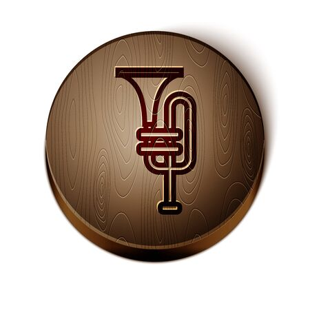 Brown line Musical instrument trumpet icon isolated on white background. Wooden circle button. Vector Illustration Illustration