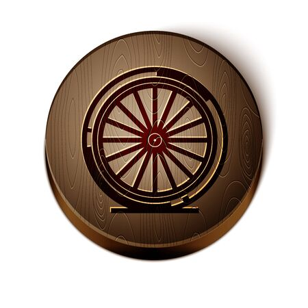 Brown line Bicycle wheel icon isolated on white background. Bike race. Extreme sport. Sport equipment. Wooden circle button. Vector Illustration Ilustração