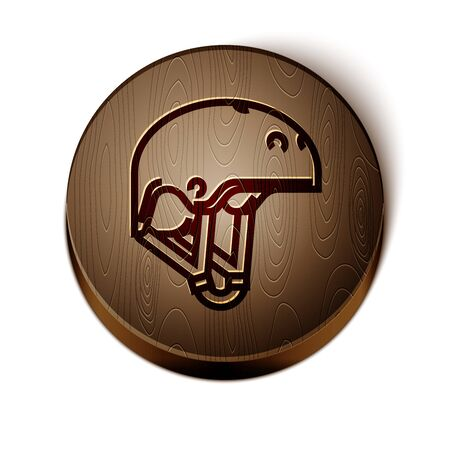 Brown line Helmet icon isolated on white background. Extreme sport. Sport equipment. Wooden circle button. Vector Illustration Stock Illustratie