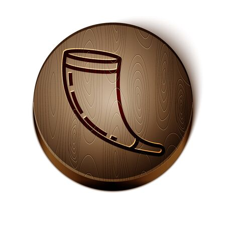 Brown line Traditional ram horn, shofar icon isolated on white background. Rosh hashanah, jewish New Year holiday traditional symbol. Wooden circle button. Vector Illustration