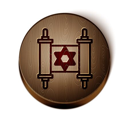 Brown line Torah scroll icon isolated on white background. Jewish Torah in expanded form. Star of David symbol. Old parchment scroll. Wooden circle button. Vector Illustration