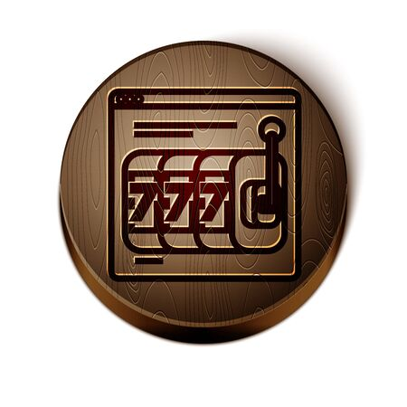 Brown line Online slot machine with lucky sevens jackpot icon isolated on white background. Online casino. Wooden circle button. Vector Illustration