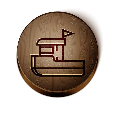 Brown line Fishing boat icon isolated on white background. Wooden circle button. Vector Illustration