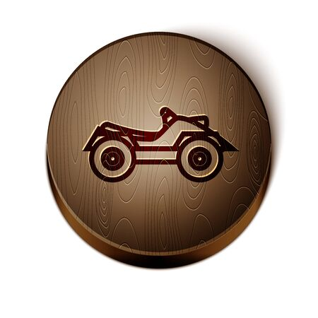 Brown line All Terrain Vehicle or ATV motorcycle icon isolated on white background. Quad bike. Extreme sport. Wooden circle button. Vector Illustration Vectores