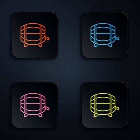 Color neon line Wooden barrel on rack with stopcock icon isolated on white background. Set icons in colorful square buttons. Vector Illustration