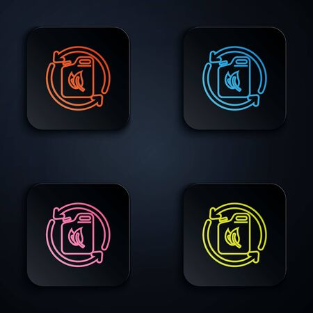 Color neon line Bio fuel canister icon isolated on black background. Eco bio and barrel. Green environment and recycle. Set icons in colorful square buttons. Vector Illustration Vectores