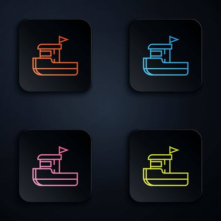 Color neon line Fishing boat icon isolated on black background. Set icons in colorful square buttons. Vector Illustration