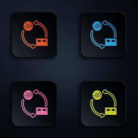Color neon line Casino chips exchange on stacks of dollars icon isolated on black background. Set icons in colorful square buttons. Vector Illustration Illustration