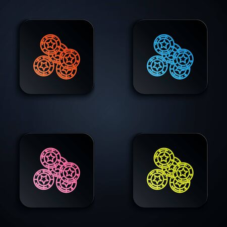 Color neon line Casino chips icon isolated on black background. Casino gambling. Set icons in colorful square buttons. Vector Illustration