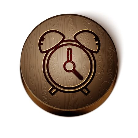 Brown line Alarm clock icon isolated on white background. Wake up, get up concept. Time sign. Wooden circle button. Vector Illustration Vettoriali