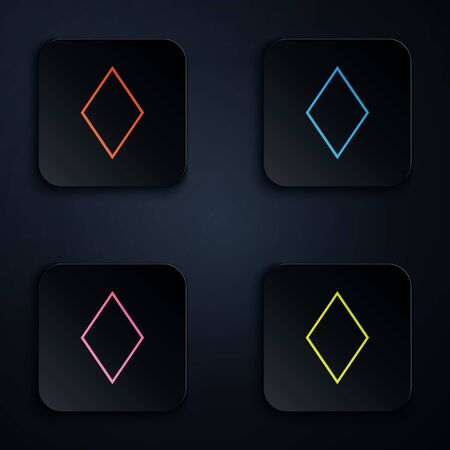 Color neon line Playing card with diamonds symbol icon isolated on black background. Casino gambling. Set icons in colorful square buttons. Vector Illustration