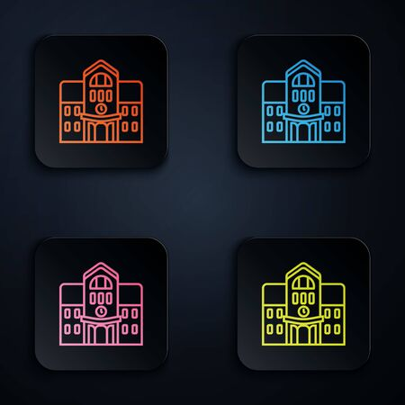 Color neon line School building icon isolated on black background. Set icons in colorful square buttons. Vector Illustration Illustration