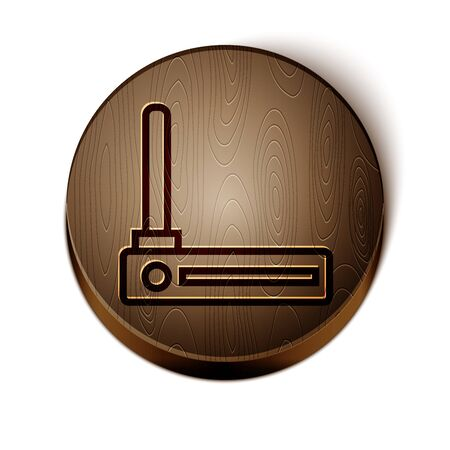 Brown line Router and wifi signal symbol icon isolated on white background. Wireless modem router. Computer technology internet. Wooden circle button. Vector Illustration