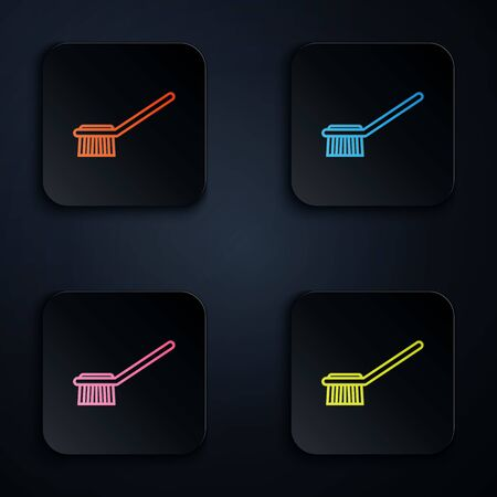 Color neon line Toilet brush icon on black background. Set icons in colorful square buttons. Vector Illustration