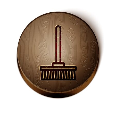 Brown line Mop icon isolated on white background. Cleaning service concept. Wooden circle button. Vector Illustration