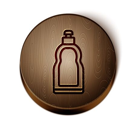 Brown line Plastic bottle for liquid laundry detergent, bleach, dishwashing liquid or another cleaning agent icon isolated on white background. Wooden circle button. Vector Illustration Stock Illustratie