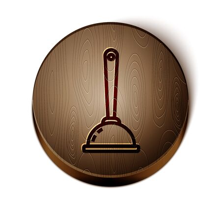 Brown line Rubber plunger with wooden handle for pipe cleaning icon isolated on white background. Toilet plunger. Wooden circle button. Vector Illustration