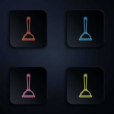 Color neon line Rubber plunger with wooden handle for pipe cleaning icon on black background. Toilet plunger. Set icons in colorful square buttons. Vector Illustration