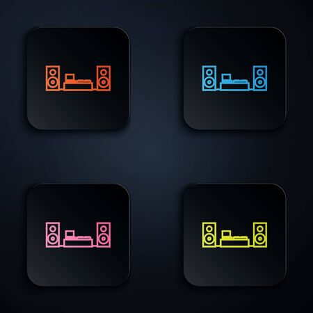 Color neon line Home stereo with two speaker s icon isolated on black background. Music system. Set icons in colorful square buttons. Vector Illustration