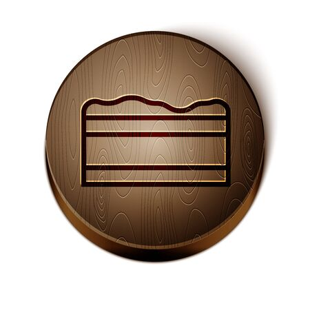 Brown line Brownie chocolate cake icon isolated on white background. Wooden circle button. Vector Illustration Illustration
