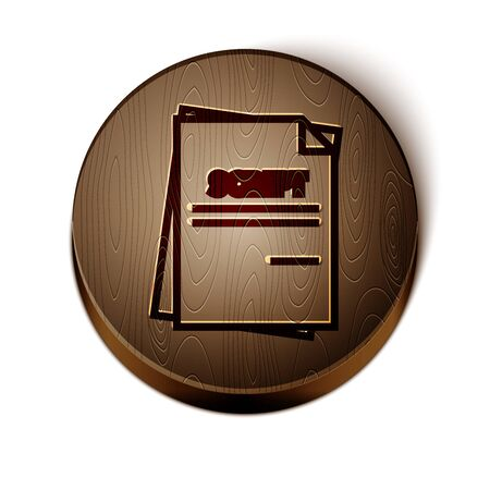 Brown line Scenario icon isolated on white background. Script reading concept for art project, films, theaters. Wooden circle button. Vector Illustration
